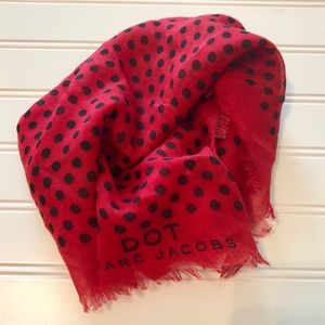 Marc Jacobs scarf | red with black polkas dots